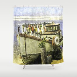 Watercolor Of An Old Fishing Ship Shower Curtain