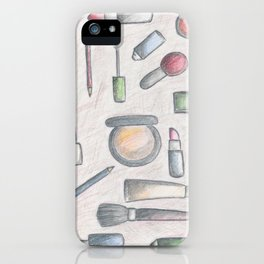 MAKE-UP - pencil and coloured pencil illustration iPhone Case