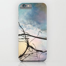 Heaven and Hell Abstract Painting by Jodi Tomer Cloudy Painting Sticks iPhone Case