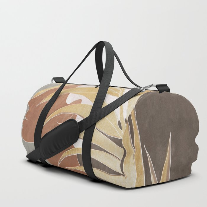 Woman with Golden Palm Leaf Duffle Bag