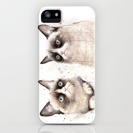 Grumpy Watercolor Cats iPhone Case