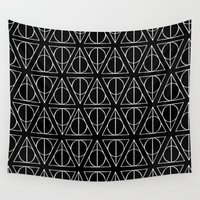 deathly hallows Wall Tapestries featuring Hand Drawn Deathly Hallows // white  by Milly Scarlett