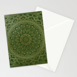 Mandala Royal - Green and Gold Stationery Cards