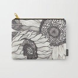 The Sunflowers - Black and White Line Drawing Carry-All Pouch