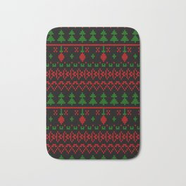 3 Knitted Christmas pattern in retro style pattern Bath Mat