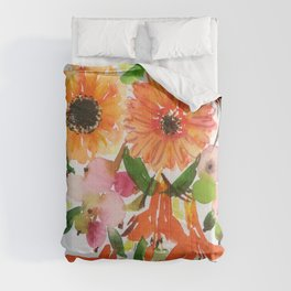 gerbera/crocosmia/snowberry in watercolor Comforters