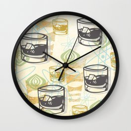 Dad Is Home Retro Midcentury Whiskey Pattern Wall Clock