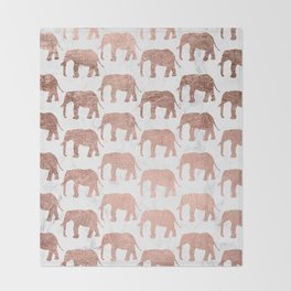 Modern faux rose gold elephants white marble Throw Blanket