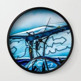 Open Canopy Of A Modern Fighter Aircraft Cockpit Wall Clock