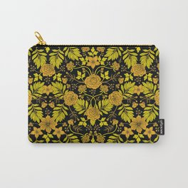 Yellow, Orange, Tan & Black Intricate Floral Pattern Carry-All Pouch