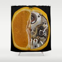 clockwork orange Shower Curtains featuring Clockwork Orange by Cornish Seascapes