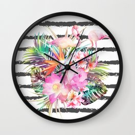 Tropical floral leaves and flamingos stripes Wall Clock
