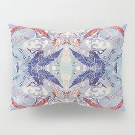 Waves and Cranes Chinoiserie Inspired Wall Art   Japanese Katagami Stencil Design in Red, Blue, Gray Pillow Sham
