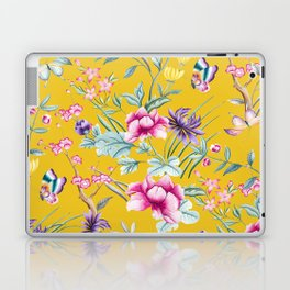 Yellow Chinoiserie Asian Floral Print Laptop & iPad Skin