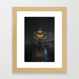 Nighttime Pagoda on West Lake Framed Art Print
