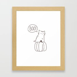 Cat and Pumpkin Halloween Framed Art Print