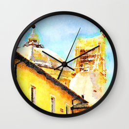 L'Aquila: convent with dome and collapsed bell tower Wall Clock