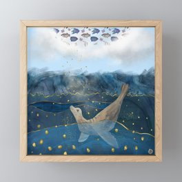 The Sea Lion's Dream - the race for food in warming oceans Framed Mini Art Print
