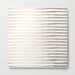 White Gold Sands Thin Stripes Metal Print