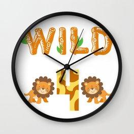Let's go wild in turning 4 Safari Wall Clock
