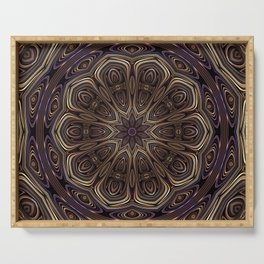 An Absract Kaleidoscope Flower of Bronze and Purple Highlights Serving Tray