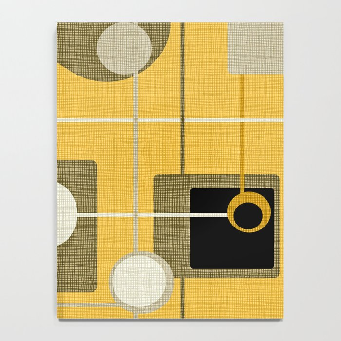 orbs and square gold yellow Notebook