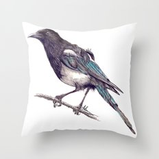 Juvenile Magpie Throw Pillow