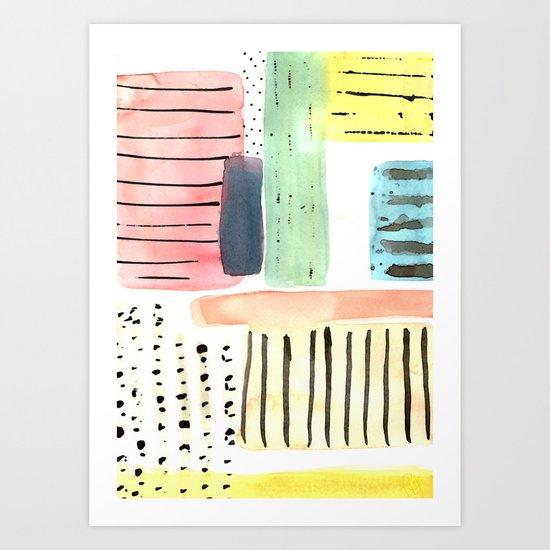 Dots and Stripes (pastels) Art Print