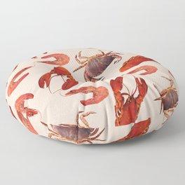 Lobster - Crab - Shrimps coral background Floor Pillow