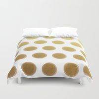 gold dots Duvet Covers featuring painted polka dots - gold by her art