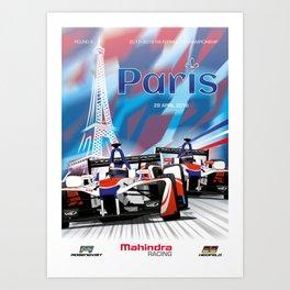 Mahindra Racing FIA Formula E Season 4 Paris E-Prix Poster Art Print