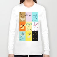 eevee Long Sleeve T-shirts featuring Eevee evolutions square- Eeeveelutions PKMN by Rebekhaart