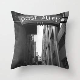 Post Alley in Seattle Washington - Black and White Throw Pillow