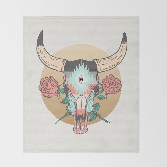 cráneo de vaca Throw Blanket