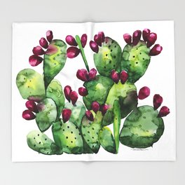 Prickly, Prickly Pear Cactus Throw Blanket