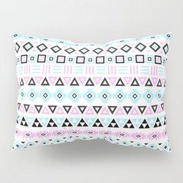 Aztec Influence Pattern III Blue Black Pink White Pillow Sham