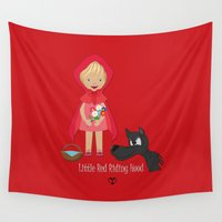 red riding hood Wall Tapestries featuring Little Red Riding hood by MyimagesArt