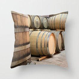 Wine barrels in Wine Estate Cell Throw Pillow
