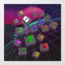 Retro 80s Synthwave Game Cartridge Collage Canvas Print