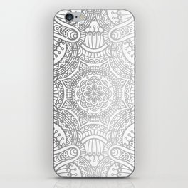 Silver Ethnic Pattern With Mandalas iPhone Skin