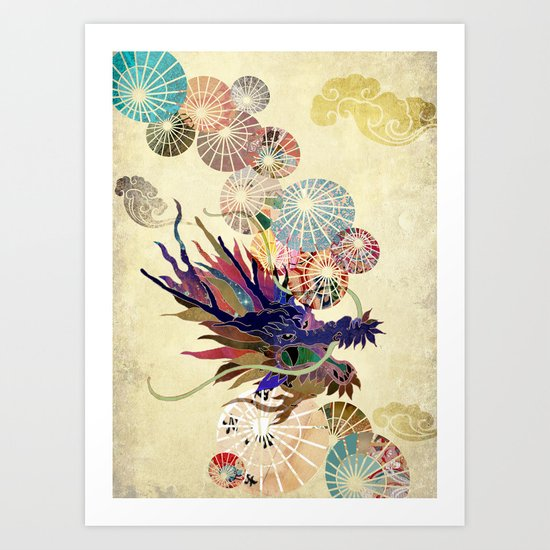 Dragon with unbrellas Art Print