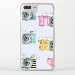 Five Vintage Cameras in Watercolor Clear iPhone Case