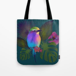 Tropical bird and exotic flowers summer painting Tote Bag