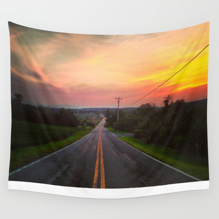 Sunset Over Fish & Game Road Wall Tapestry
