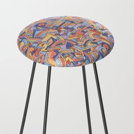 Party in Orange and Blue Counter Stool