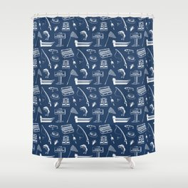 Gone Fishing // Navy Blue Shower Curtain