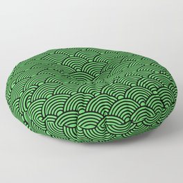 Japanese Waves (Black & Green Pattern) Floor Pillow