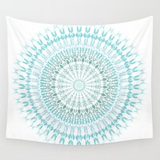 Turquoise White Mandala Wall Tapestry