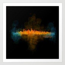Vancouver Canada City Skyline Hq v04 dark Art Print