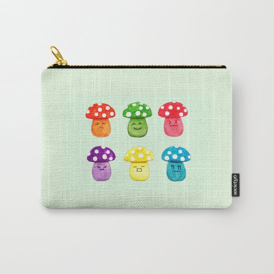 cute mushroom emoji watercolor painting  Carry-All Pouch